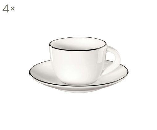Espressotassen mit Untertassen á table ligne noir, 4 Stück, Fine Bone China, Weiß<br>Rand: Schwarz, Ø 6 x H 5 cm