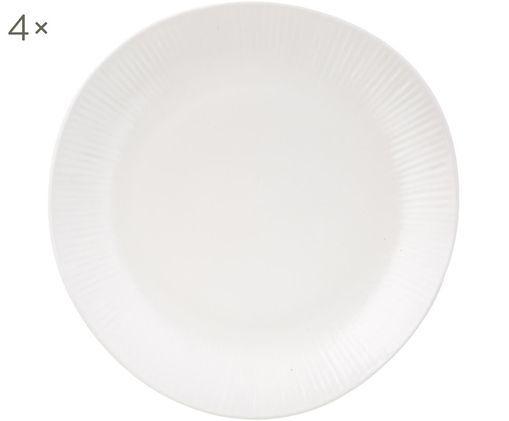 Assiettes plates faites à la main Sandvig, 4 pièces, Blanc cassé