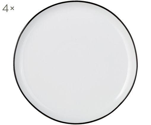 Frühstücksteller Abysse weiß/schwarz, 4 Stück, Porzellan, Weiß, Schwarz, Ø 21 cm