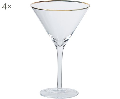 Martinigläser Chloe in Transparent mit Goldrand, 4er-Set