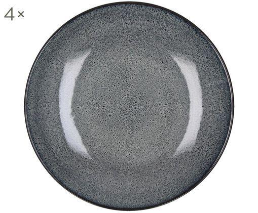 Piatto da colazione in terracotta Mirha 4 pz, Gres, Grigio scuro, Ø 22 cm