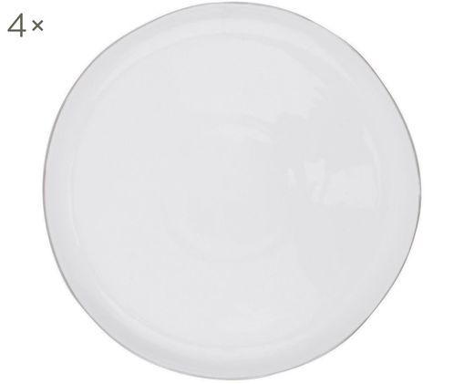Piatto da colazione Abysse, 4 pz., Porcellana, Bianco, platino, Ø 21 cm