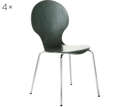 Sedie Marcus, 4 pz., Seduta: fibra a media densità, Struttura: acciaio cromato, Grigio, L 49 x A 87 cm
