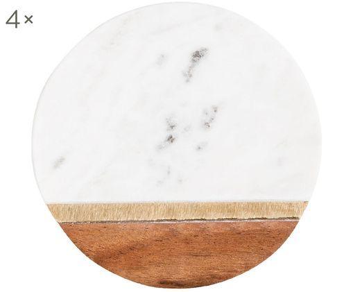 Marmor-Untersetzer Luxory Kitchen, 4 Stück, Marmor, Akazienholz, Messing, Weiß, Akazienholz, Messing, Ø 10 x H 2 cm