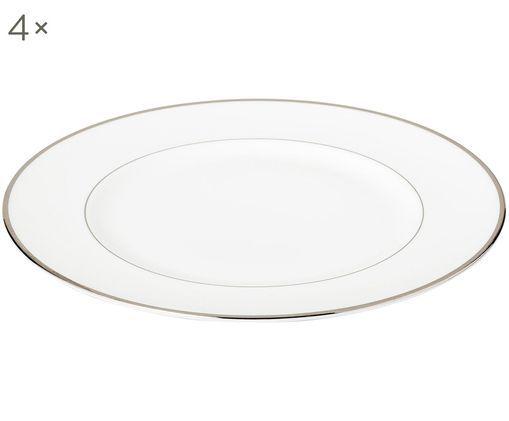 Speiseteller Signet Platinum, 4 Stück, Weiß,Silber