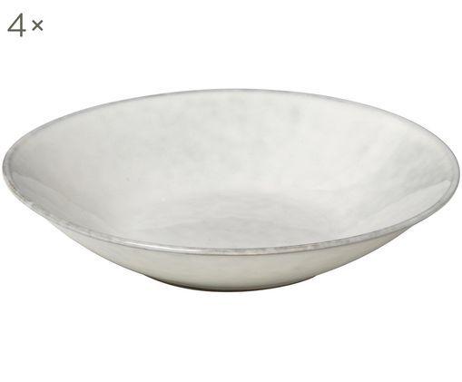 Handgefertigte Suppenteller Nordic Sand, 4 Stück, Steingut, Sand, Ø 22 x H 5 cm
