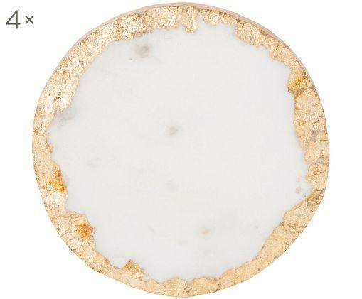 Marmeren onderzetters Carrara, 4 stuks, Wit gemarmerd, goudkleurig