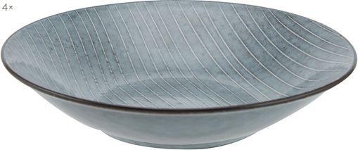 Handgemachte Suppenteller Nordic Sea Ø 22 cm aus Steingut, 4 Stück