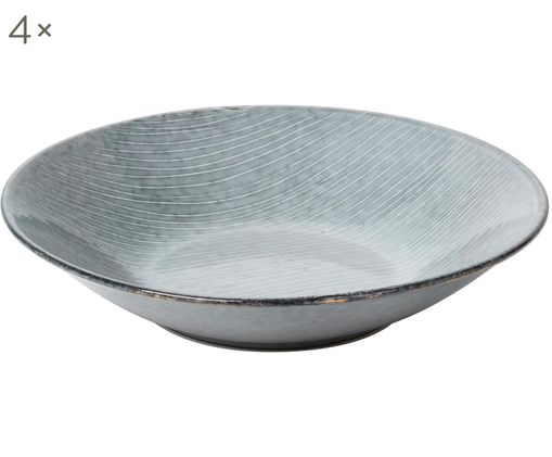 Handgefertigte Suppenteller Nordic Sea, 4 Stück, Steingut, Grau- und Blautöne, Ø 22 x H 5 cm