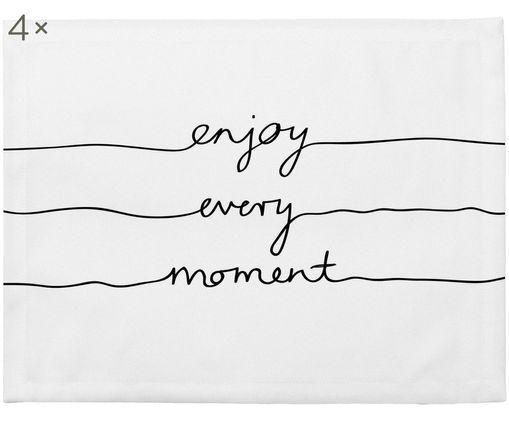 Tovaglietta Enjoy every Moment, 4 pz., Poliestere, Bianco con macchie nere, Larg. 35 x Lung. 45 cm