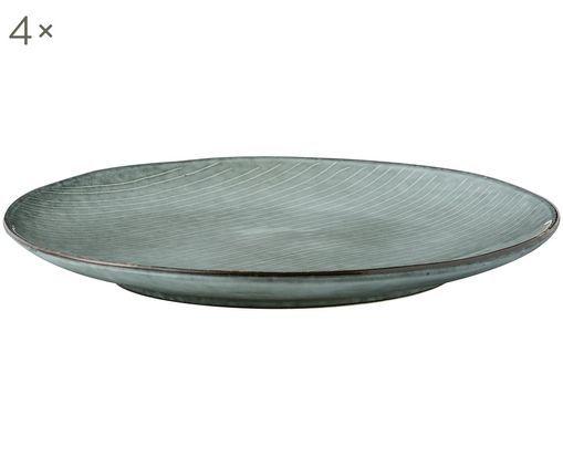 Handgemachte Speiseteller Nordic Sea, 4 Stück, Steingut, Grau- und Blautöne, Ø 26 cm