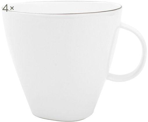 Kaffeetassen Abysse weiß/platin, 4 Stück, Porzellan, Weiß, Platinumfarben, 9 x 9 cm