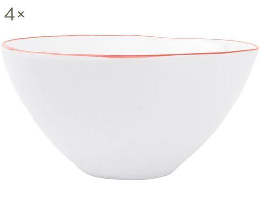 Miska Abysse, 4 szt., Porcelana, Biały, czerwony, Ø 15 x W 7 cm