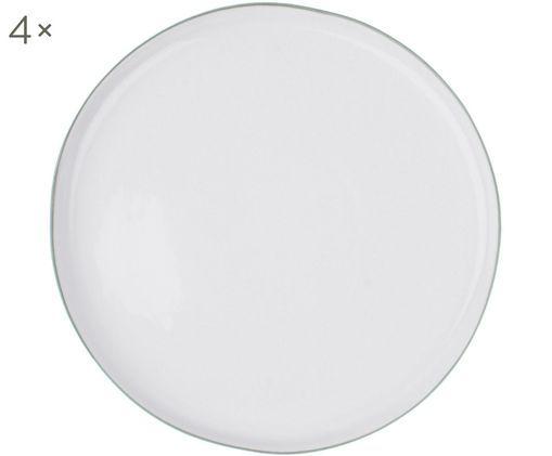 Assiettes plates Abysse, 4pièces, Blanc, gris