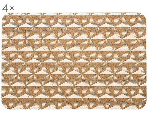 Set tovagliette Illusion, 4 pz., Sughero, stampa, Marrone, bianco, Larg. 31 x Lung. 47 cm