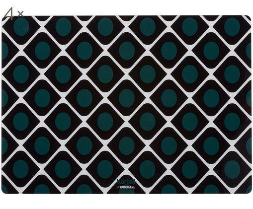 Plastové prestieranie Tischsets d'Americana,  4 ks, Čierna, biela, olivovozelaná