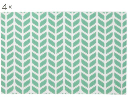 Set tovagliette Tahiti, 4 pz., Materiale sintetico (PVC), Acquamarina, Larg. 30 x Lung. 45 cm