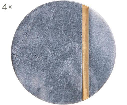 Steingut-Untersetzer Minta, 4 Stück, Untersetzer: Steingut, Streifen: Messing, Grau, Messing, Ø 10 cm