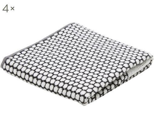 Asciugamano per gli ospiti Grid 4 pz, Nero, bianco latteo, Larg. 38 x Lung. 60 cm