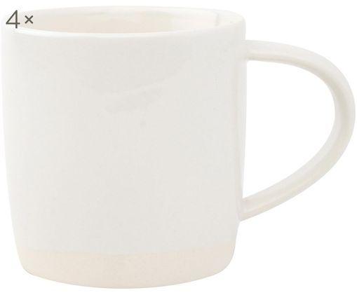 Handgefertigte Tassen Bisque, 4 Stück, Weiß