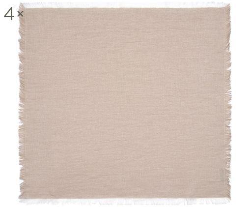 Tovaglioli di stoffa Layer, 4 pz., Cotone, Beige, Larg. 45 x Lung. 45 cm