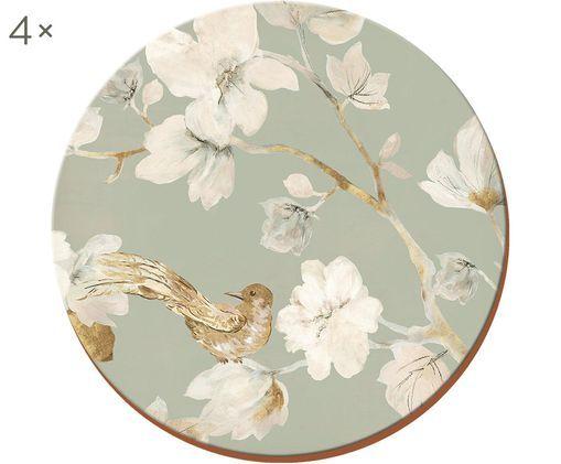Podstawka Duck Egg Floral, 4 szt., Korek, Szary, biały, beżowy, Ø 12 cm