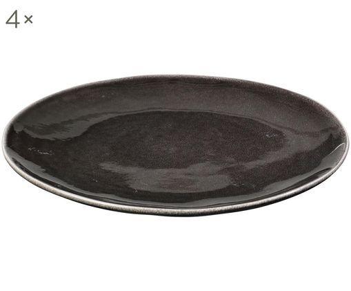 Piatti piani fatto a mano Nordic Coal, 4 pz., Terracotta, Marrone scuro, Ø 26 cm
