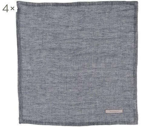 Tovagliette Kinia, 4 pz., 55% cotone, 45% lino, Blu, L 45 x P 45 cm
