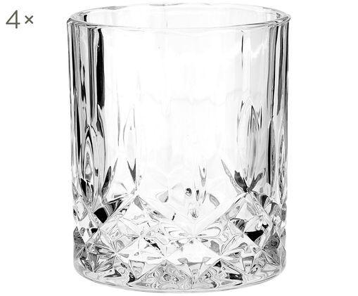 Verres en cristal avec relief George, 4 pièces, Transparent