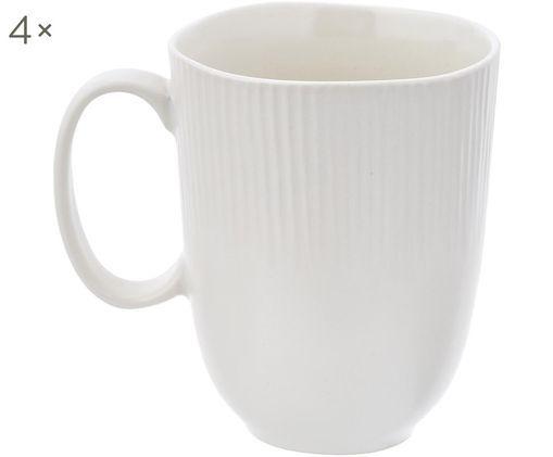 Handgefertigte Tassen Sandvig mit leichtem Rillenrelief, 4 Stück, Porzellan, durchgefärbt, Gebrochenes Weiß, Ø 8 x H 10 cm