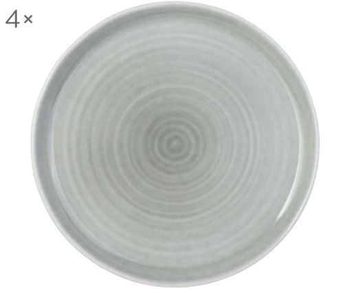 Speiseteller Pinch, 4 Stück, Steingut, Grau, Ø 27 cm