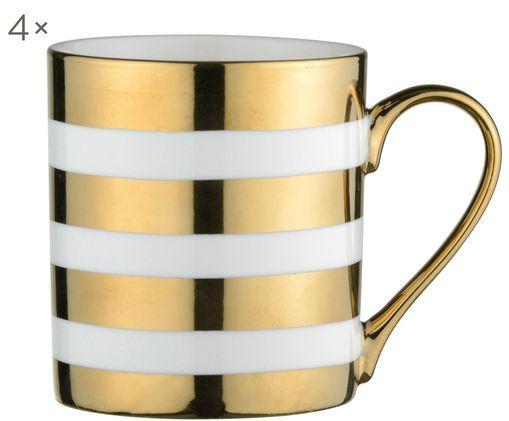 Set tazze Stripes, 4 pz., Porcellana, Bianco, dorato, Ø 9 x A 10 cm