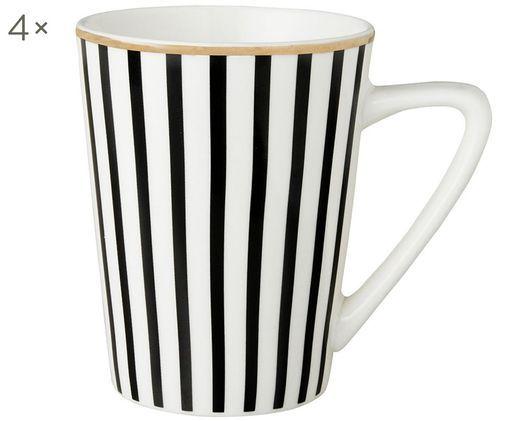 Kubek do herbaty Pluto Loft, 4 szt., Porcelana, Czarny, biały, Ø 8 x W 10 cm
