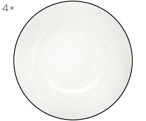 Assiettes à dessert À Table ligne noire, 4pièces, Blanc Bord: noir