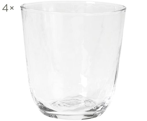Ručne fúkaný pohár na vodu Hammered, 4 ks, Priesvitná