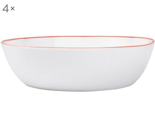 Schalen Abysse weiß/rot, 4 Stück, Porzellan, Weiß, Rot, Ø 17 x H 5 cm