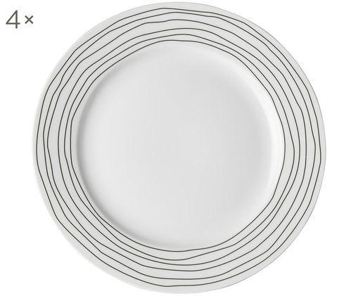 Ontbijtborden Eris Loft, 4stuks, Porselein, Wit, zwart, Ø 21 x H 2 cm