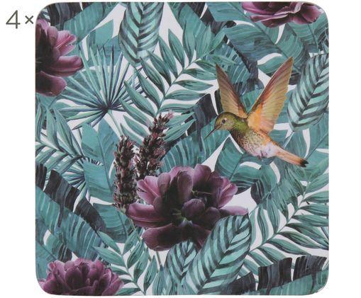 Onderzetters Amazonas, 4 stuks, Kurk op MDF, Turquoisegroen, tinten paars, B 10 cm