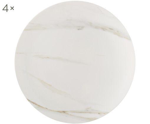 Assiettes plates en marbre Venato Imperial, 4pièces, Blanc, marbré