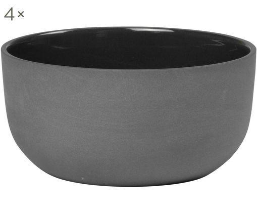 Ciotola in nero opaco / lucido Nudge 4 pz, Porcellana, Grigio scuro, Ø 14 cm