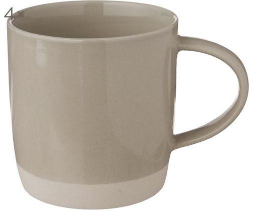 Handgefertigte Tassen Bisque, 4 Stück, Grau