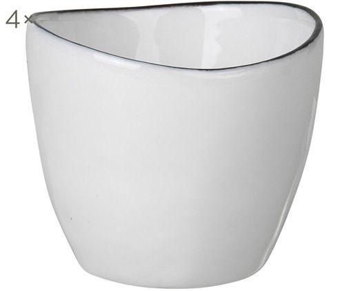 Handgemachte Eierbecher Salt, 4 Stück, Porzellan, Gebrochenes Weiß, Schwarz, Ø 5 x H 4 cm