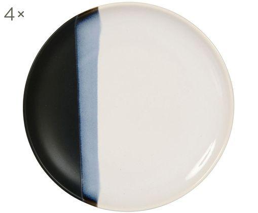 Piatti da dessert Ekume, 4 pz., Gres, Blu, bianco, nero, Ø 21 x A 3 cm
