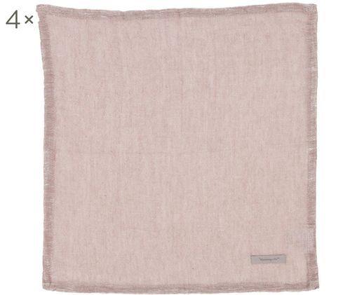 Tovagliette Kinia, 4 pz., 55% cotone, 45% lino, Rosa, L 45 x P 45 cm
