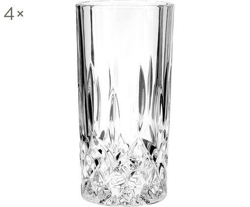Longdrinkgläser George mit Kristallrelief, 4 Stück, Glas, Transparent, Ø 8 x H 14 cm
