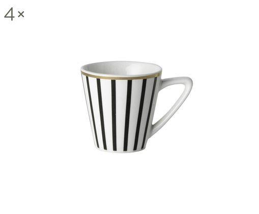 Espressotassen Pluto Loft mit Goldrand, 4 Stück, Porzellan, Schwarz, Weiß, Ø 6 x H 6 cm