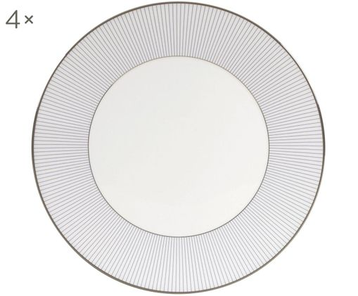 Piatti piani  Pin Stripe, 4 pz., Bordo: placca di platino, Bianco, blu, platino, Ø 27 cm