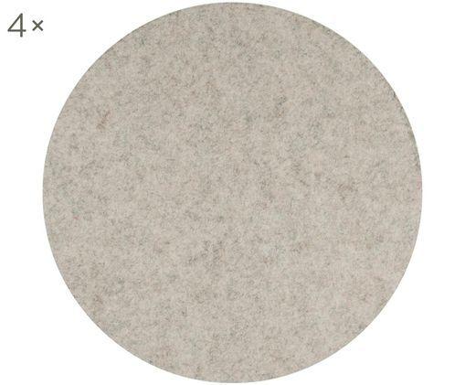 Runde Filz-Sitzauflagen Sharp, 4 Stück, Polyester (Filz), Hellbeige, meliert, Ø 35 cm
