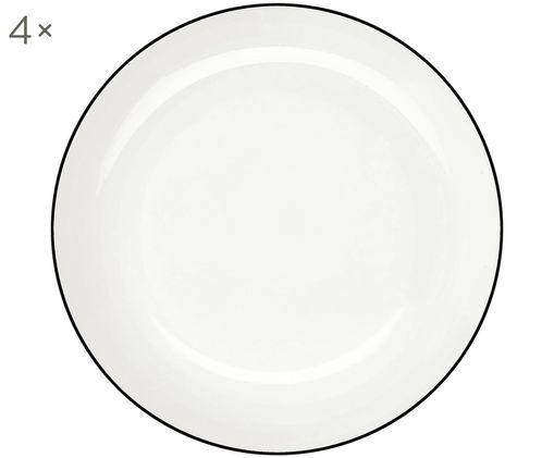 Assiettes creuses À Table ligne noire, 4pièces, Blanc Bord: noir