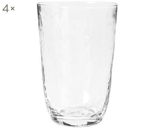 Szklanka do wody ze szkła dmuchanego  Hammered, 4 szt., Szkło dmuchane, Transparentny, Ø 9 x W 14 cm